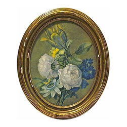 Oval Floral Engraving - Vintage oval floral engraving in an oval gilt wood frame.