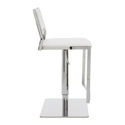 Nuevo Living - Aaron Adjustable Stool, White, Set of 2 - Adjustable bar stools are a great flexible seating option in the modern home. You and your guests can change the height and swivel around for added comfort and ease of use. And the white upholstery will have you sitting in style.