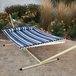 "Alfred Zahn Ltd - Hammock with Stand: Island Bay Nautical Quilted Hammock with Steel Stand - Shop for Hammocks from Hayneedle.com! This premium hammock package includes a weather-resistant polyester hammock matching button-on pillow the hanging hardware and a durable stand. If summer needs one other thing it is maybe a frosty glass of lemonade. You'll love lying in this super comfortable hammock and the pillow really ups the ""Ah"" factor. The whole package assembles in about 10 minutes with no need for tools. In no time you'll be lying in your new hammock accomplishing absolutely nothing. The 14-gauge steel stand is offered in three colors subject to availability and then finished in durable powder coating. Designed with a spreader bar to hold the hammock open this model is among those that are easy to get in and out of. The dimensions of the bed itself are 6 feet 5 inches in length and 4 feet 6 inches in width. With a maximum of 450 pounds and its large size it is perfect for two adults. Order now and enjoy a summer full of relaxation. About Island Bay HammocksIsland Bay Hammocks come to you directly from the skilled hammock artisans of Chennai India. Using the latest technology alongside time-tested traditional methods of construction these hammocks are woven with the pride of their makers."