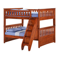 Night & Day Furniture - Night and Day Ginger Full over Full Bunk Bed with Storage Stairs - This twin over full bunk bed is perfect for kids to teenagers. Conserves space in a small bedroom; includes: Ladder and guard rails for upper bunk