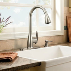 Moen Haysfield Spot resist stainless one-handle high arc pulldown kitchen faucet - Product Features