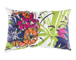 """Koko Company - Cactus Pillow, Green, Blue, Pink, and Orange, 13"""" x 20"""" - Inspired by Southwestern flora with embroidery and screen printed graphic."""