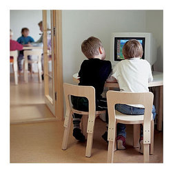 Artek - Children's N65 Desk Chair (Set of 2) - This ubiquitous chair has a timeless appeal that seamlessly assimilates into of settings. The chair is constructed of sturdy laminated birch veneer that forms a quality structure with an exquisite minimalist appearance. Bent Solid Wood Design: -The innovative and strong L-leg construction is based on the technique of bending solid wood. Artek's L-leg is made from birch wood carefully selected and collected from the Finnish forests; only high-quality flawless woods with no structural errors are selected. -The quality wood piece is sawed open at the end in the direction of the fibers. Thin pre-glued pieces of birch veneer are put in the grooves, enabling the wood to bend to form a 90-degree angle with the help of pre-steaming and microwave heating. -The form-pressed leg piece is placed in a microprocessor-controlled drying chamber, assuring the legs' long lasting quality. -After being fine-sanded by hand, the beautiful and strong L-leg is easily fastened with screws to the underside of the seat, eliminating the need for complicated joinery. -Thanks to this unique production method, the L-leg keeps its shape forever, lasting from generation to generation. Features: -Made of birch veneer.-Product Type: Chair.-Collection: Seating.-Hardware Finish: Stainless steel.-Distressed: No.-Powder Coated Finish: No.-Gloss Finish: No.-Frame Material: Birch.-Hardware Material: Stainless steel screws.-Solid Wood Construction: No.-Number of Items Included: Chair only.-Non-Toxic: Yes.-Scratch Resistant: No.-Stain Resistant: No.-Mildew Resistant: Yes.-Rot Resistant: Yes.-Insect Resistant: Yes.-Arms Included: No.-Upholstered Seat: No.-Upholstered Back: No.-Rocker: No.-Swivel: No.-Glider: No.-Reclining: No.-Footrest Included: No.-Stackable: No.-Foldable: No.-Inflatable: No.-Legs Included: Yes -Number of Legs: 4.-Leg Material: Birch.-Protective Floor Glides: No..-Casters: No.-Cupholder: No.-Skirted: No.-Ottoman Included: No.-Adjustable Height: 