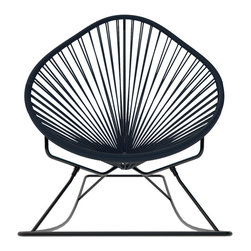 Acapulco Rocker, Black Weave On Black Frame - Sit back and relax in this classic woven rocking chair. The iconic pear-shaped seat is perfect for enjoying the backyard, but looks equally stylish inside the home. Order from a rainbow of colors to match your personality or stay cool with classic black and you can't go wrong.
