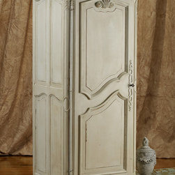 Orleans Jam Cabinet - Originally used to store pots of jam and marmalade, this handsome one-door cabinet can easily venture beyond the kitchen and into any other room of your home. Crafted of walnut circa 1900, with deeply carved moldings, curvaceous lines and elegant hand-carved ornamentation, it has inside shelving and a hand painted ivory finish.
