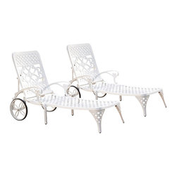 Home Styles - Home Styles Biscayne White Chaise Lounge Chairs Set of 2 - Home Styles - Patio Lounges - 5552832 - Create an intimate conversation area with Home Styles Biscayne Chaise Lounge Chair
