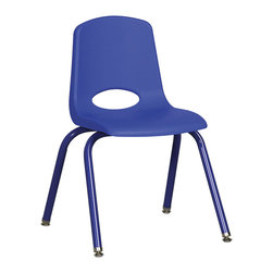 """Ecr4kids - Ecr4Kids 16"""" Stackable School Chair - Matching Legs Blue Pack Of 6 - Innovative school stack chair features molded seat with vented back has reinforced ribbing in back and under seat for strength. Frame features 16-gauge tubular steel legs and steel lower back support with color-coordinated finish. Full MIG welded frame. No penetration through the seat surface. SuperGlide composite ball glides for durability and protection on hard floors and carpet. Easy to clean and sanitize.Stackable school chair with molded seat, vented back and heavy-duty tubular steel legs. Seat Height 16"""""""