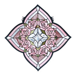 """Meyda - 20""""W X 20""""H Ring Of Roses Stained Glass Window - A victorian inspired ring of petal pink roses are thecenterpiece of this quatrefoil window created with 188pieces of pink, tender green and textured clear stainedglass with 13 clear glass bevels. Handcrafted withstained art glass utilizing the copperfoil constructionprocess, this beautiful tiffany style window also comeswith a solid brass hanging chain and brackets."""