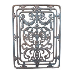 Iron Panel - Late 19th century French Antique Cast Iron Panel with Floral Design. This piece has some of the original paint and rust on it and could be used for many decorative purposes both inside and outside your home.