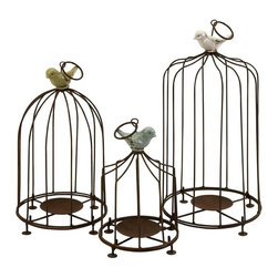 Imax Worldwide Home - Louise Birdcage Candleholders - Set of 3 - Set of 3. Material: 70.53% Metal, 21.46% Terracotta, 6.06% Paint, 1.95% Glaze. 9-12-15 in. H x 6-7-7.75 in. D. Weight: 2.645 lbs.Add some cheer to garden decor with these fun birdcage pillar candleholders. Iron bars and candle base are topped with brightly colored birds. Set of 3.