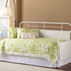 Hillsdale Furniture - Hillsdale Kensington Daybed & Suspension Deck & Trundle in White - The Kensington daybed has traditional design with a hint of turn of the century French style.  The classic silhouette is enhanced by the solid center panels which are graced by detailed castings.  Available in either Old Rust or Textured White finish  the Kensington is a wonderful addition to any bedroom.