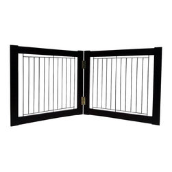 Welland - Welland Wood and Steel Designer Indoor Pet Gate,Espresso, Espresso, 36-Inch - The panels of the folding Pet Gate slide to allow a range in length that accommodates a wide variety of doorways and openings. The elegant pine wood used for this product looks great in any room. The height of this pet gate is low enough to step over for ease of movement from room to room.