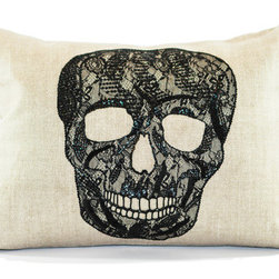 Ankasa - Lace Skull Pillow - Lace Skull pillow with Belgian Chintz linen, Black lace and black sequin embroidery