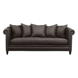 Tailor Sofa, Java Tess - I love this sofa so much. The texture of the fabric, the color, the shape and the nailhead — it's perfect.