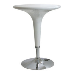 New Buffalo Corp. - Amerihome Glossy White Adjustable Height Bar Table - The Amerihome Adjustable height ABS Plastic Bar Table in glossy White has a fun and funky design with clean, modern lines that fits in perfectly with a contemporary decor. Set at the lowest height, 28 in., the table is great for kid's playrooms because it is easy to clean up spills. At the tallest height, 36 in., the table is comfortable for 2 adults to have a small meal in the breakfast nook, a cup of coffee in the sunroom, or snacks watching the game in the basement TV room.