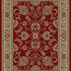 Ottomanson - Dark Red Traditional Oriental Design Rug - Royal Collection offers a wide variety of machine made modern and oriental design area rugs with durable, stain-resistant pile in trendy colors.