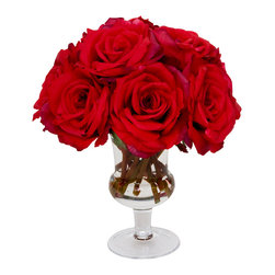 The French Bee - Red Pave Roses - A couple petite bouquets of red roses flanking your couch, your fireplace or your bedroom dresser is a chic way to add an air of romance to your space. And these artificial pave roses in a subtle, footed glass urn will look fresh and lovely for as long as you need them to. Made from pure silk and crafted expertly to be the picture of natural beauty, you'll love them for years to come. Wipe petals gently with a cloth to keep that just-picked-from-the-garden look.