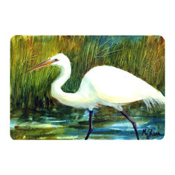 Caroline's Treasures - Bird - Egret Kitchen or Bath Mat 24 x 36 - Kitchen or Bath Comfort Floor Mat This mat is 24 inch by 36 inch. Comfort Mat / Carpet / Rug that is Made and Printed in the USA. A foam cushion is attached to the bottom of the mat for comfort when standing. The mat has been permanently dyed for moderate traffic. Durable and fade resistant. The back of the mat is rubber backed to keep the mat from slipping on a smooth floor. Use pressure and water from garden hose or power washer to clean the mat. Vacuuming only with the hard wood floor setting, as to not pull up the knap of the felt. Avoid soap or cleaner that produces suds when cleaning. It will be difficult to get the suds out of the mat.