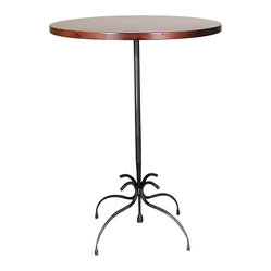 Form & Reform - Vera Table, 36 Inches Tall - Take your pick of three sizes for this polished table made from sustainable hardwood with a cherry finish. It will work in your living room, foyer or living room. Its artfully curved legs and base are fashioned from hammered, hand-forged, natural-antiqued steel.