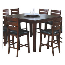 Monarch Specialties - Monarch Specialties 1833 Square Pub Dining Table with Lazy Susan in Dark Oak - This pub dining table offers rich design and transitional styling that invites a relaxed setting in your home. The dark oak finish, top grooved slat design and lazy susan feature make this perfect for an intimate dinner with family or for casual get-togethers. Constructed from solid hardwoods and wood veneers this dining table is quality built and will provide years of lasting enjoyment.