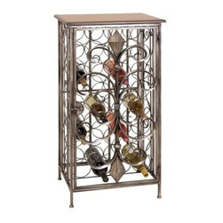 Woodland Imports Verona 39 in. Metal Wine Cage Table - Bronze - Make a classic statement of style with the Woodland Imports Verona 39 in. Metal Wine Cage Table - Bronze. Sturdily constructed of solid metal, finished in antiqued bronze, this handsome floor wine rack features stately scrolls and elegant finishing accents. This traditional-style piece carries up to 24 full-size wine bottles.