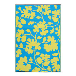 Fab Habitat - Indoor-Outdoor Oslo Rug, Turquoise/Lemon Yellow - Add a touch of exuberance to your patio or playroom with this festive floral rug. Woven from straws made of recycled plastic, the rug is washable and mildew-resistant. For a change of pace, flip it over and enjoy the same pattern in reverse. Comes complete with tote bag, for convenient transport or storage.
