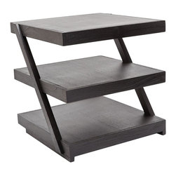 Lazy Susan - Lazy Susan 784060 Stacked Black Teak Side Table - You're really stacking up the style points. This gorgeous side table is handcrafted of natural teak in a dark espresso finish that's applied by hand. Three 20 inch square shelves are stacked on angular supports for a look that's enticingly modern.