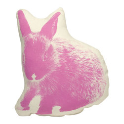 Fauna - Bunny Pillow, Pink on Natural - You don't need a barnyard full of bunnies to enjoy the look of these cute fuzzy animals. This pink little throw pillow would add the perfect pop of personality to a bed or a sofa. You can snuggle up with a furry friend without worrying about cleaning up after him!