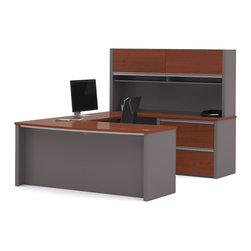 Bestar - Bestar Connexion Bordeaux & Slate 71 x 93 U-Shaped Workstation Desk - The desk is made of durable 1 inch commercial grade work surface with melamine finish that resist scratches stains and wears. It features an impact resistant 0.25 cm PVC edge. Grommets and a rubber strip are available on the station for efficient wire management. The executive desk the credenza the hutch and the bridge meet or exceed ANSI/BIFMA performance standards. The hutch for credenza offers two flip up doors large closed storage space efficient wire management and two large paper shelves. The doors are fitted with strong lift up hardware. The oversized pedestal offers two file drawers with letter/legal filing system. The drawers are on ball-bearing slides and the keyboard drawer features double-extension slides for a smooth and quiet operation. The station is fully reversible. Also available in Slate and Sandstone finish. Connexion is a contemporary and durable collection that features a wide variety of configuration options that will adapt to your specific needs. Nowadays performance productivity and quality of life are fundamental to achieving our personal and professional goals. Bestar's home and office furniture design is based upon these criteria as well as on today's reality. On average we spend about 40 hours a week at work (home or office) which represents a large portion of our time. Various factors have a direct impact on our well-being at work: an important concern in the current employment environment continually changing and at an ever-increasing pace. Therefore organizing your space is certainly a parameter to consider. Features include Strong and large work surface Plenty of room to organize your documents Storage space for your documents and personal items. Specifications Finish/color: Bordeaux & Slate.