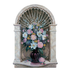 RTZ Company, Inc. - Faux Marble Wall Niche Art, 53x37, Original Oil Painting - The Marble Shell Niche art will add elegance to your decor while the trompe l'oeil style will add a touch of whimsy. A beautiful flower arrangement of magnolias, pink peonies, hydrangas, roses and yellow yarrow fill an aubergine vase. Wire hanger for easy installation. -Trisha Selgrath