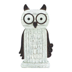 Benzara - Whimsical Perching Owl decor In White Polyresin - A whimsical perching owl that makes for a great decor perfect for any contemporary shelf or tabletop. This silly owl is depicted perching wide eyed, watching over your home like your very own guard dog. Place it perfectly on the bookshelf or on the fireplace mantle. But it's also useful as a paperweight in the home office or on the end table.