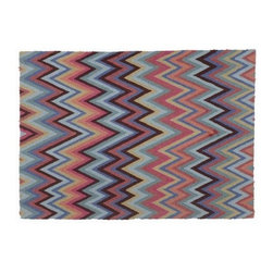 Bargello Red And Blue Rug - This is such a fun way to add a bunch of different colors to your home. It would be great in a living room or kid's room.