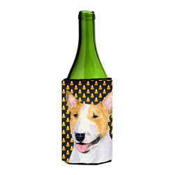 Caroline's Treasures - Bull Terrier Candy Corn Halloween Portrait Wine Bottle Koozie Hugger - Bull Terrier Candy Corn Halloween Portrait Wine Bottle Koozie Hugger Fits 750 ml. wine or other beverage bottles. Fits 24 oz. cans or pint bottles. Great collapsible koozie for large cans of beer, Energy Drinks or large Iced Tea beverages. Great to keep track of your beverage and add a bit of flair to a gathering. Wash the hugger in your washing machine. Design will not come off.