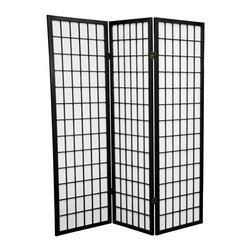 Oriental Furniture - 5 ft. Tall Window Pane Shoji Screen - Black - 3 Panels - A modern take on a classic Japanese design, this Shoji screen is one of our most popular room dividers. Hand constructed from fiber-reinforced Shoji rice paper and Scandinavian spruce, these allow diffused light without sacrificing privacy. The simple, elegant design fits in with any style of home furnishing and is perfect for sectioning off part of a room, keeping things removed from sight, or even just adding an East Asian accent to your decor.