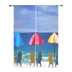 xmarc - Beach Art Sheer Curtains, Beach Day - The windows have it with these sheer, decorative curtains. Romantic and flowing, these elegant chiffon window treatments finish a room with the perfect statement