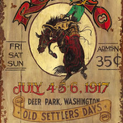 Red Horse Signs - Rustic Western Signs Large Vintage Rodeo Sign Old Settlers Days - Rustic  Western  Signs  -  Antique  Rodeo  Advertisement  Replica  -  32x20          Rustic  Western  Signs  add  color  and  character  to  any  western  decor,  and  this  one  is  a  customer  favorite.  Sign  dimensions  are  32x20.  Text  on  this  sign  is  customizable,  and  for  an  additional  $15.00,  you  can  change  the  wording,  dates,  or  city  location  to  reflect  your  own  community.          Each  of  these  vintage  signs  is  painted  directly  onto  distressed  wood  panels,  creating  a  replica  that  looks  like  a  hand-painted  antique.  Customize  the  wording  on  your  sign  by  calling  our  toll-free  customer  service  line  at  888-OLD-BARN.          Please  allow  2-3  weeks  for  delivery.