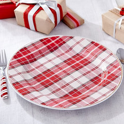 Christmas Plaid Melamine Charger Set - Melamine tableware is an inexpensive way to add some holiday warmth to your table settings. These chargers are perfect.