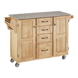 HomeStyles - 52.75 in. Kitchen Cart in Natural Finish - This kitchen cart features a handy towel holder and four drawers for ample storage. Its smooth, salt and pepper granite top is great for food preparation and gives your kitchen a simple elegant touch while providing extra counter space. * Four easy open utility drawers. Two cabinet doors open to storage with adjustable shelf inside. Handy spice rack with towel bar. Paper towel holder. Salt and pepper granite top. Heavy duty locking rubber casters for easy mobility and safety. Made from Asian hardwood. Made in Thailand. 48 in. L x 17.75 in. W x 35.5 in. H. Cart Assembly Instruction. Top Assembly InstructionHome Styles' Create-a-Cart is a unique and refreshing solution for kitchen utility.