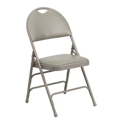 Flash Furniture - Flash Furniture Hercules Series Ultra-Premium Triple Braced Folding Chair - This Triple Braced Plush Comfort Hercules Folding Chair provides superior support and comfort. This portable folding chair can be used for Parties, Graduations, Sporting Events, School Functions and in the Classroom. This chair will be the perfect addition in the home when in need of extra seating to accommodate guests. When no longer needed, simply fold away as a compact storage solution. This economically priced chair will endure some heavy usage with an 18-gauge steel frame, triple braced and leg strengthening support bars.