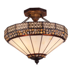 Elk Lighting - Stone Filigree 3-Light Semi-Flush in Burnished Copper - The Stone Filigree Collection offers the natural beauty of genuine polished river stones. Cream tiffany art glass is accented by bandings of translucent stones and a decorative filigree border. Each stone varies slightly in color and shape adding richness and depth. This Collection�s burnished copper finish completes the authentic arts and crafts design.
