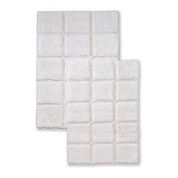 Superior Collection Luxurious Cotton Checkered Bath Rug Set - White - These durable bath rugs feature a basic checkered pattern and are constructed of premium combed cotton with a non slip latex backing. Available in 10 exciting colors. Dimensions: 24 inches x 36 inches & 20 inches x 30 inches.