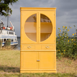 Vintage Bright Yellow Antique China Cabinet By The Southern Mermaid - This vintage cabinet has great character with its half moon glass doors. Brighten up your kitchen, a corner or entryway with this handsome piece.