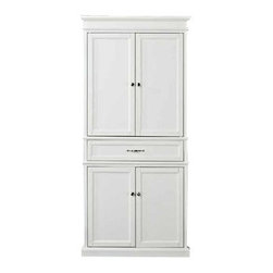 Crosley - Parsons Pantry, White - Add function and style to your kitchen with the Parsons Pantry. Abundant storage resides within the two large cabinets, each featuring adjustable full width shelves. Made of hardwoods and built to last, this pantry is a fine addition to any household.