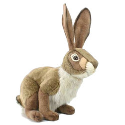 Hansa Toys - Hansa Large Jack Rabbit - Hop hop, goes this rabbit! This large Hansa Jack Rabbit is handcrafted from brown, beige and white plush with dark eyes and whiskers.