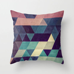 Muted Pattern Pillow Cover - Muted magentas, greys, and teals create a compelling, ultramodern look in this pillow cover. Made of 100% polyester poplin, each double-sided pillow cover has been individually cut and sewn by hand. A concealed zipper makes the pillow cover easy to clean.