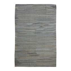 """ALRUG - Handmade Grey Oriental Kilim  6' 7"""" x 9' 11"""" (ft) - This Afghan Kilim design rug is hand-knotted with Wool on Wool."""