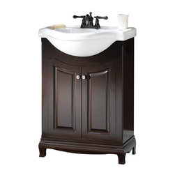 """Foremost - Foremost PAEA2534 Espresso Palermo Palermo Euro Bathroom Vanity - Vanity Package Includes:Vanity cabinet constructed of hardwood materialCeramic vanity / counter topSingle basin bathroom sinkVanity Cabinet Features:Constructed of hardwood materialVanity features 1 full sized cabinet with matching doors providing ample storage spaceThis model is a complete package - base and top are includedComplete with matching decorative hardwareVanity is crated and shipped fully assembledSolid construction and assembly provides years of reliable performanceVanity Top Features:Vanity top is constructed of ceramic provides a sturdy feel and clean appearanceTop features a recessed single basin bathroom sinkCenter drain location provides optimal draining capabilityFaucet and waste assembly not included with this model - must be purchased separatelySturdy mounting assembly – ensuring safety and reliabilityAll hardware needed for installation is includedVanity Cabinet Specifications:Overall Height: 37"""" (measured from ground level to highest point on vanity)Overall Width: 25-5/8"""" (measured from left most to right most part on vanity)Overall Depth: 18-7/8"""" (measured from back most to front most part on vanity)Mounting Style: FreestandingNumber of Drawers: 0Number of Doors: 2Number of Shelves: 0Vanity Top Specifications: Overall Width: 25-5/8"""" (measured from left edge to right edge of vanity top)Overall Depth: 18-7/8"""" (measured from back edge to front edge of vanity top)Sink Included: YesDrain Outlet Connection: 1-1/2"""""""