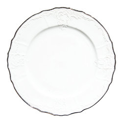 """Anna Weatherley - Simply Anna Platinum Charger Plate 12"""" - This is a simply elegant collection featuring Anna Weatherley's signature shark's tooth platinum banding. The collection works beautifully with all of Anna's lavishly decorated offerings."""
