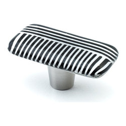 """Windborne Studios - Stripe Glass Knobs and Pulls, Zebra Ribbon, 1"""" X 2"""" - The inspiration for the """"Stripe Collection"""" is from a family retreat."""