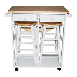 Yu Shan - Breakfast Cart w Table and 2 Stools in White - Great utility cart with 2 stowaway stools. Warranty: 90 days manufacturer. Made from rubber wood. No assembly required. 29.75 in. W x 32 in. D x 32.5 in. H (58 lbs.)